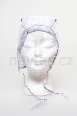 Melírovací čepice plast s potiskem (modrý kroužek) zavazovací 1ks