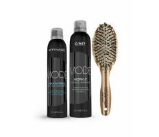 Vánoční balíček Am Mode Kit III. - Work it lak 300ml+Waxworks Dry 200ml+Kartáč na vlasy